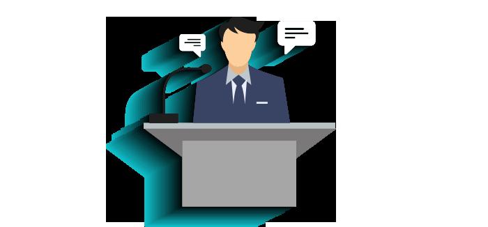 تنظيم المؤتمرات و تجهيز وتنسيق مكان عقد المؤتمر، الصالة والمنصة الرئيسية